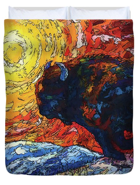 Bison Running Print Of Olena Art Wild The Storm Oil Painting With Palette Knife  Duvet Cover