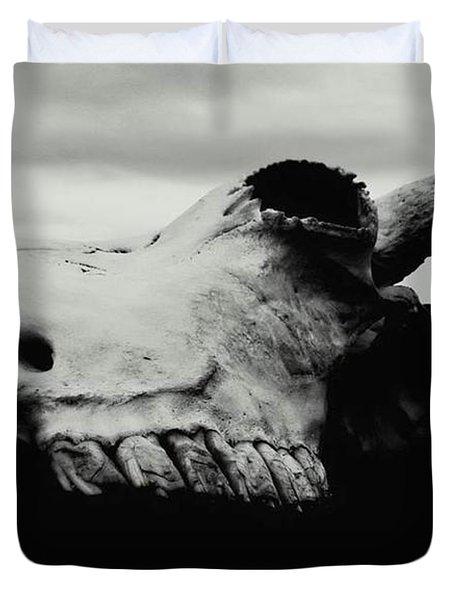 Bison Skull Black White Duvet Cover