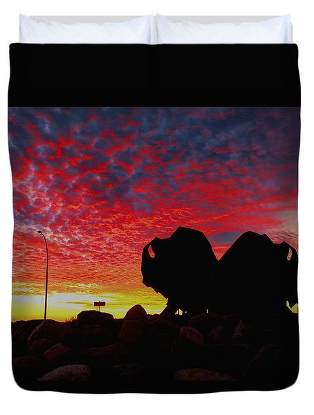 Bison Sunset Duvet Cover