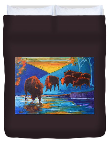Bison Turquoise Hill Sunset Acrylic And Ink Painting Bertram Poole Duvet Cover