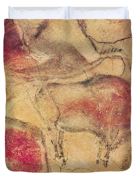 Bisons From The Caves At Altamira Duvet Cover by Prehistoric