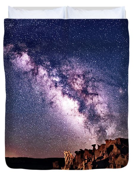 Bisti Badlands Night Sky Duvet Cover