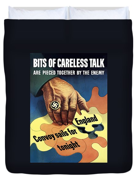 Bits Of Careless Talk Duvet Cover by War Is Hell Store