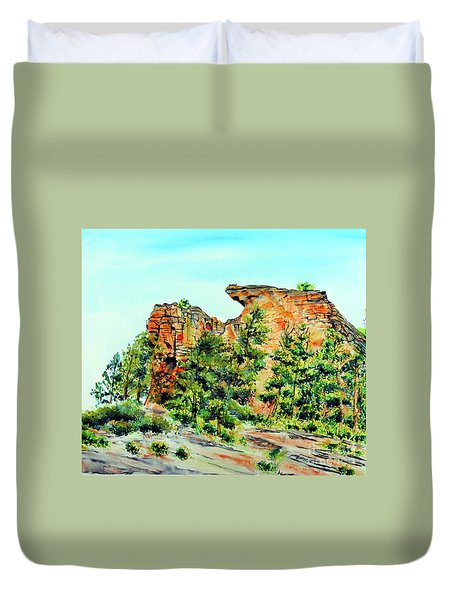 Bitterroot Cliffs Duvet Cover by Tracy Rose Moyers
