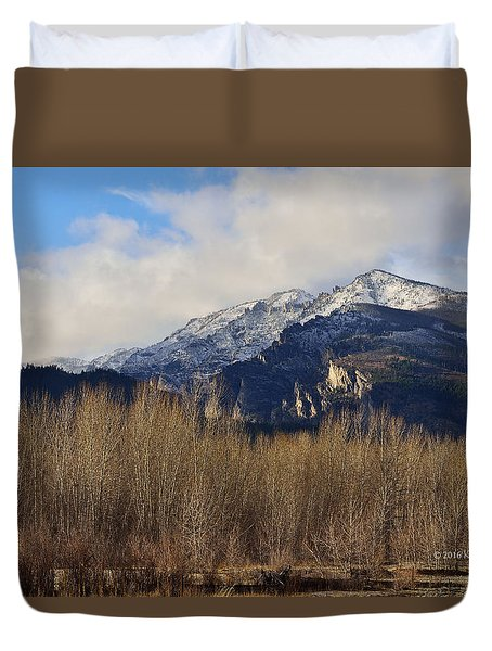 Bitterroot Mountain Peak  Duvet Cover