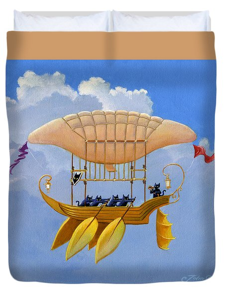 Bizarre Feline-powered Airship Duvet Cover