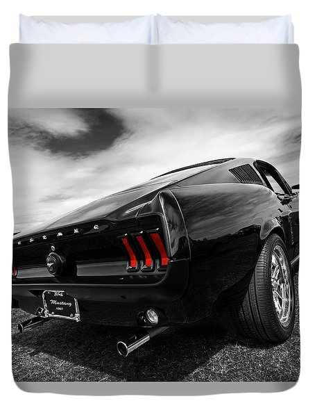 Black 1967 Mustang Duvet Cover