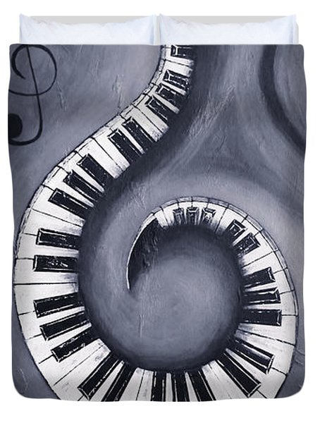 Black 2 - Swirling Piano Keys - Music In Motion  Duvet Cover