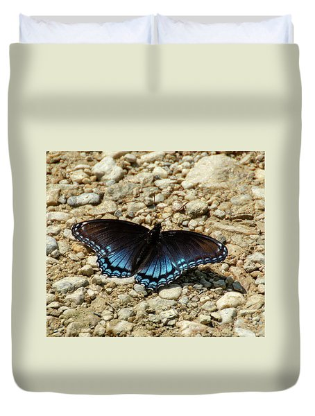 Black And Blue Monarch Butterfly Duvet Cover