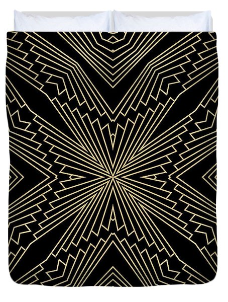 Black And Gold Art Deco Filigree 003 Duvet Cover