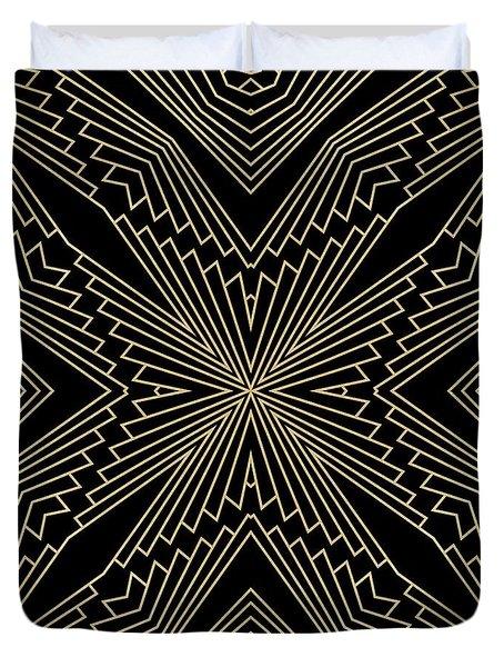 Black And Gold Art Deco Filigree 003 Duvet Cover