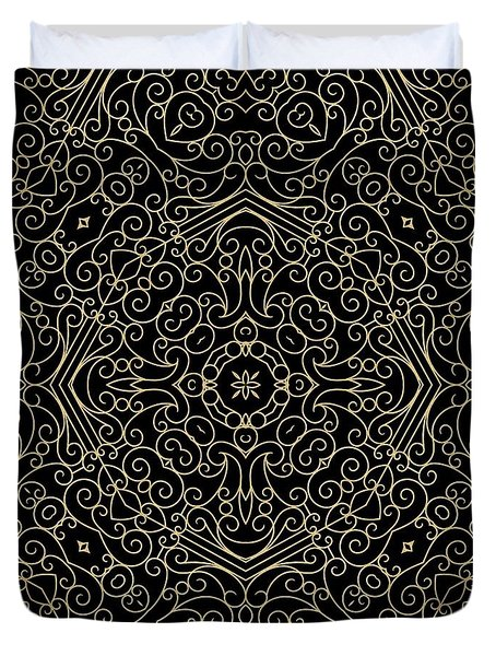 Black And Gold Filigree 002 Duvet Cover