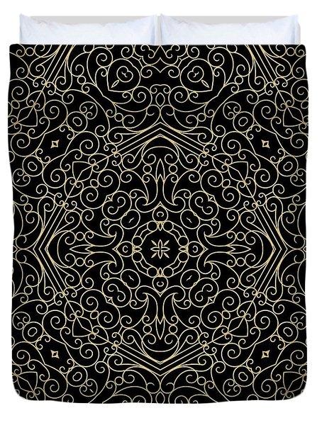 Black And Gold Filigree 002 Duvet Cover
