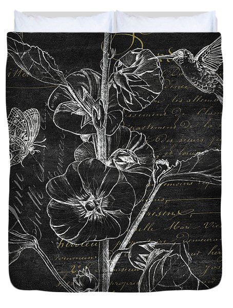 Black And Gold Hummingbirds 1 Duvet Cover