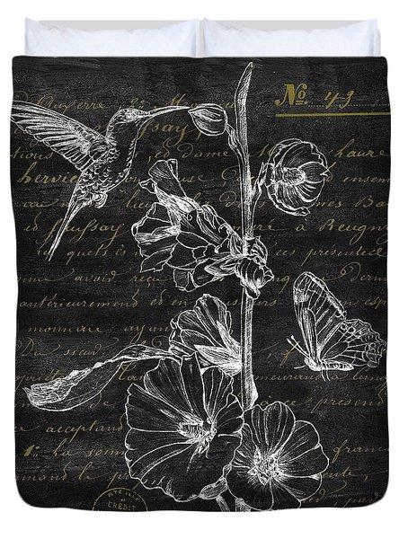 Black And Gold Hummingbirds 2 Duvet Cover