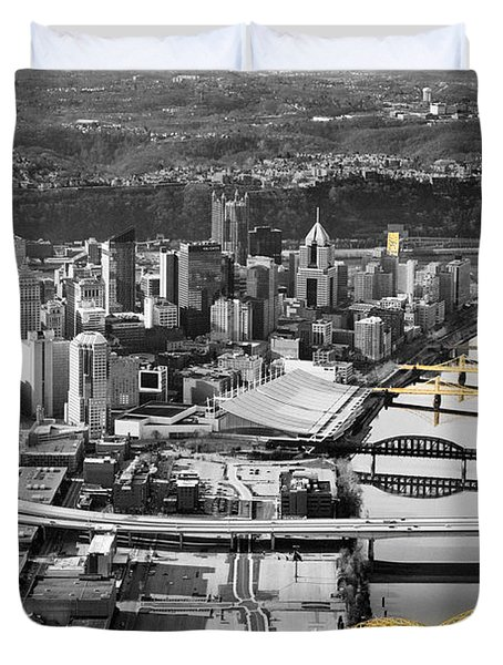 Black And Gold Pittsburgh  Duvet Cover