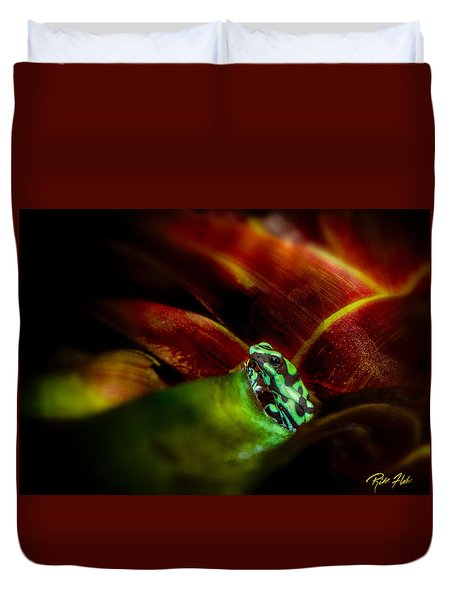 Duvet Cover featuring the photograph Black And Green Dart Frog In The Red Bromeliad by Rikk Flohr