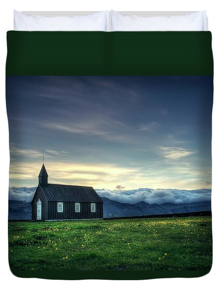 Duvet Cover featuring the photograph Black And Isolated by Peter Thoeny