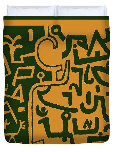 Duvet Cover featuring the digital art Black And Orange Klee by Vagabond Folk Art - Virginia Vivier