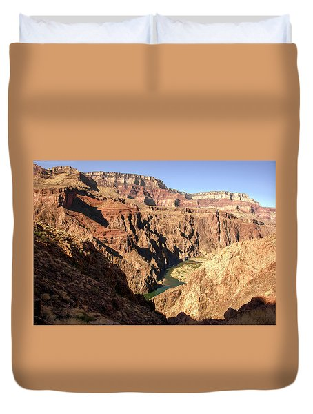 Black And Silver Bridges Spanning The Colorado River  Grand Canyon National Park Duvet Cover