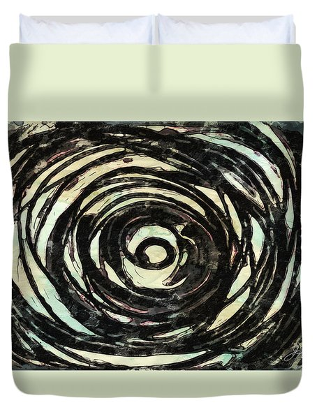 Duvet Cover featuring the painting Black And White Abstract Curves by Joan Reese