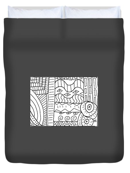 Duvet Cover featuring the painting Black And White Abstract  by Patricia Cleasby