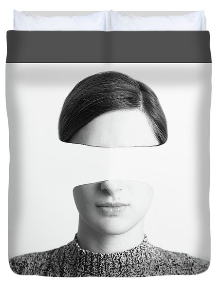 Black And White Abstract Woman Portrait Of Identity Theft Concept Duvet Cover by Radu Bercan