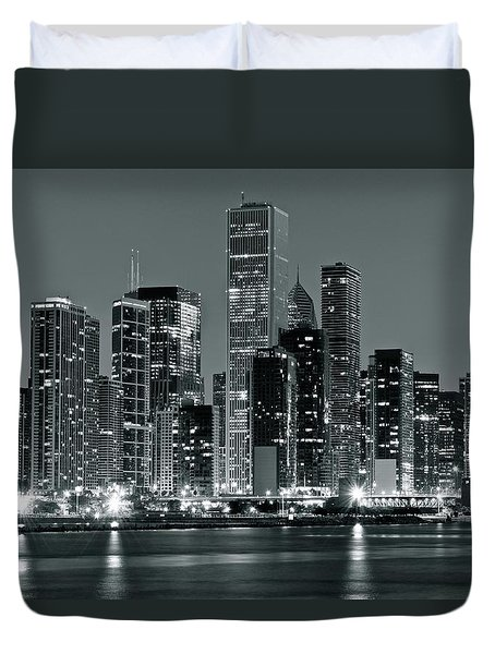 Duvet Cover featuring the photograph Black And White And Grey Chicago Night by Frozen in Time Fine Art Photography
