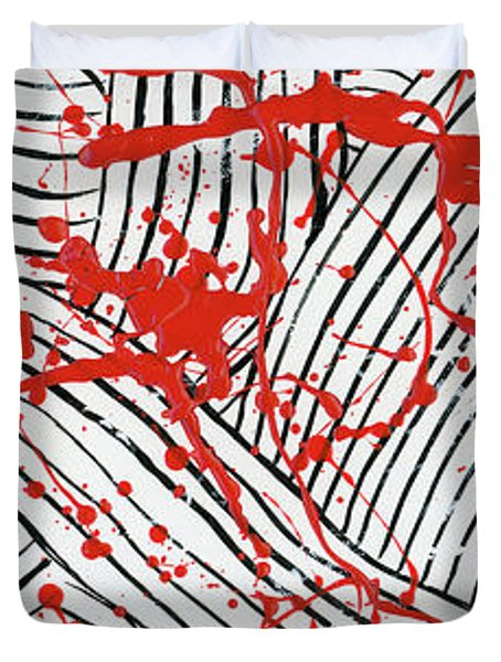 Black And White And Red All Over 1 Duvet Cover
