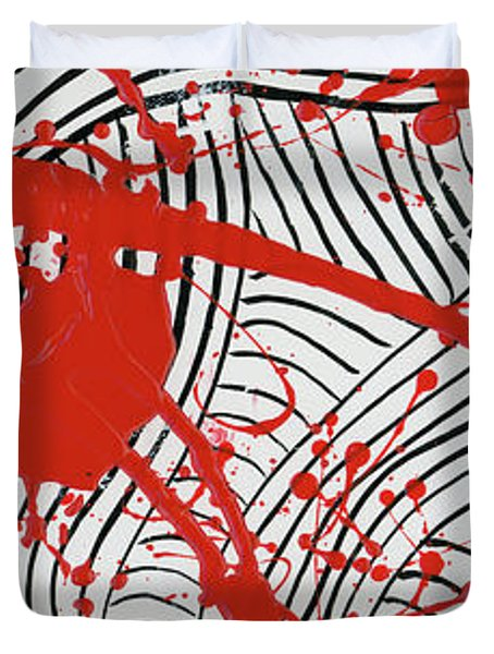 Black And White And Red All Over 2 Duvet Cover