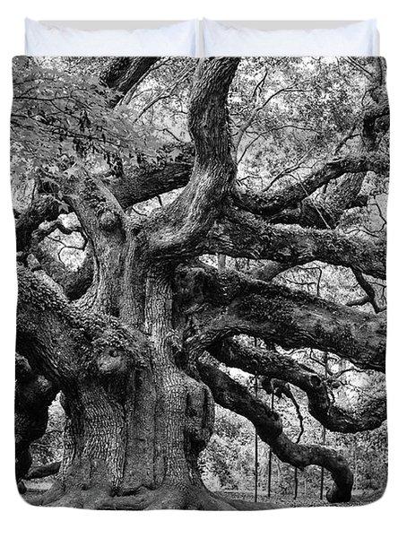 Black And White Angel Oak Tree Duvet Cover