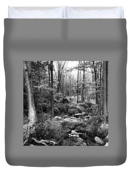Black And White Babbling Brook Duvet Cover