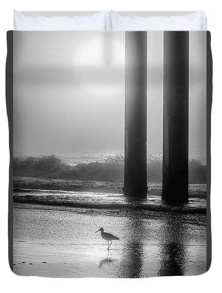 Duvet Cover featuring the photograph Black And White Bird Beach by John McGraw