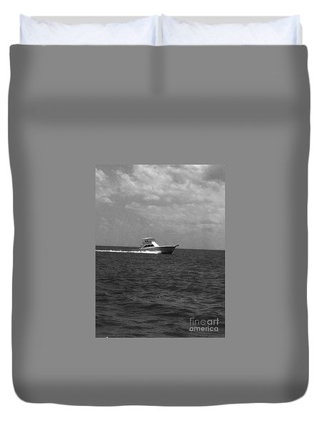 Black And White Boating Duvet Cover