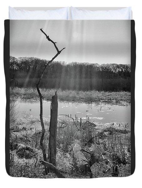 Black And White Bog Duvet Cover