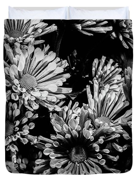 Black And White Bouquet Duvet Cover
