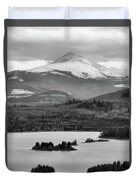 Duvet Cover featuring the photograph Black And White Breckenridge by Dan Sproul
