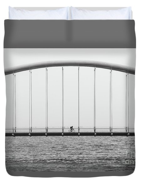 Duvet Cover featuring the photograph Black And White Bridge by MGL Meiklejohn Graphics Licensing