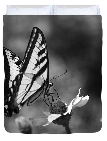 Black And White Butterfly On Flower Duvet Cover by Jim And Emily Bush