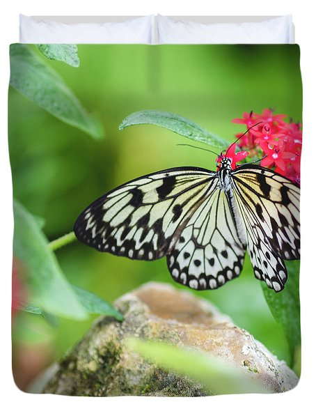 Duvet Cover featuring the photograph Black And White Butterfly by Raphael Lopez