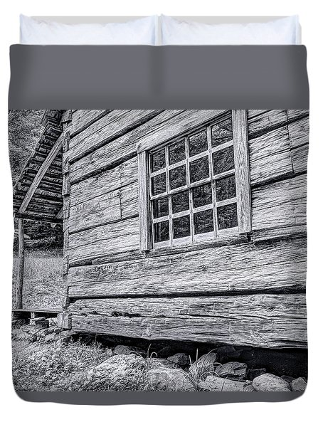Black And White Cabin In The Forest Duvet Cover
