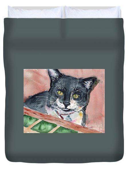 Black And White Cat Duvet Cover