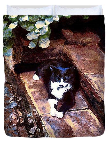 Black And White Cat Resting Regally Duvet Cover