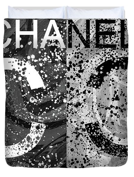 Black And White Chanel Art Duvet Cover