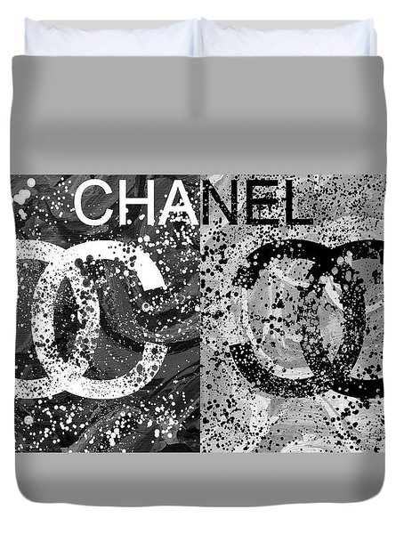 Black And White Chanel Art Duvet Cover by Dan Sproul