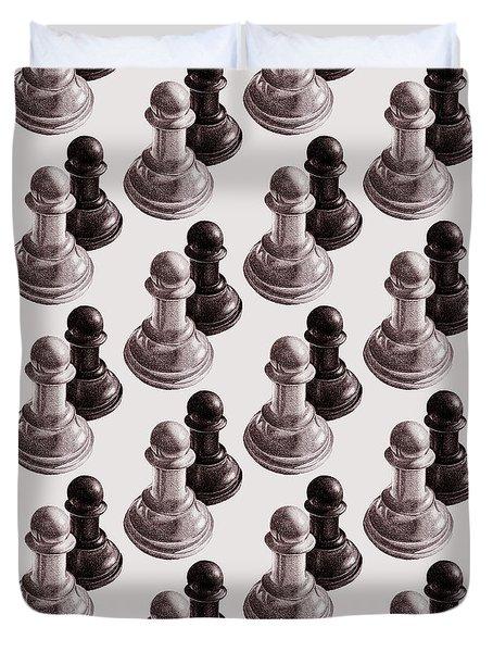 Black And White Chess Pawns Pattern Duvet Cover