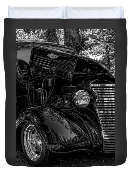 Black And White Chevrolet Duvet Cover