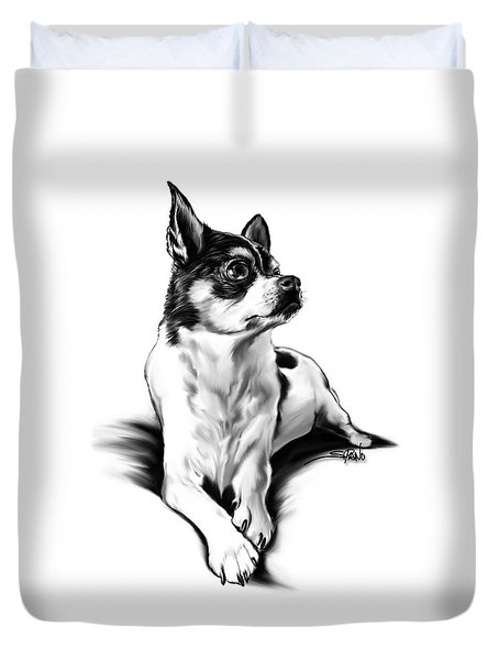Black And White Chihuahua By Spano Duvet Cover