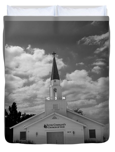 Duvet Cover featuring the photograph Black And White Church by Robert Hebert