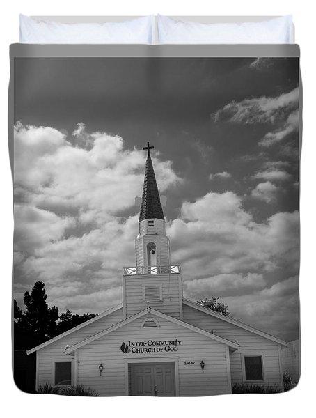 Black And White Church Duvet Cover by Robert Hebert